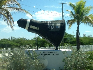 A replica of the John Glenn Space Capsule located in Grand Turk.