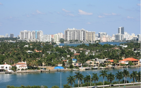 A Picturesque View of South Miami from the Cruise Ship.